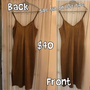 Bronzed fitted cocktail dress